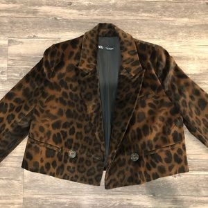 ZARA Suede Cheetah Cropped Double-Breasted Blazer